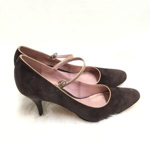Ann Taylor Brown Suede All Leather Sole Heels Sz 7
